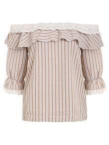 Ruffled Off-The-Shoulder Vertical Striped Top - Khaki