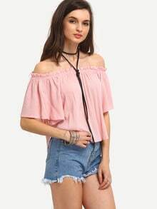 Ruffled Off-The-Shoulder Swing Top - Pink