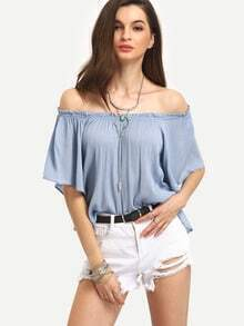 Ruffled Off-The-Shoulder Swing Top - Blue
