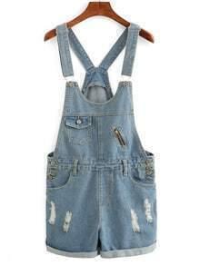 Frayed Rolled Hem Overall Denim Shorts