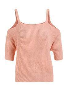 Cold Shoulder Half Sleeve Knitted Sweater