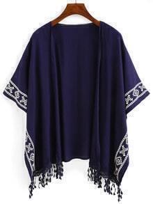 Royal Blue Aztec Print Fringe Kimono
