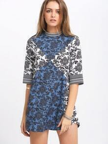 Multicolor Half Sleeve Vintage Print Dress