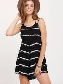 Black White Striped Crisscross Jumpsuit