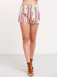Multicolor Print Skinny Shorts