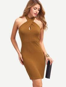 Brown Sleeveless Halter Backless Bodycon Dress