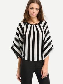 Black White Striped Split Sleeve Blouse