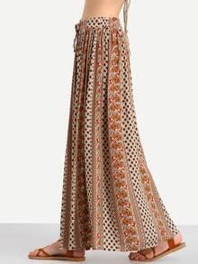 Multicolor Vintage Print Tie Waist Maxi Skirt