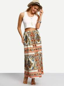 Multicolor Vintage Print Maxi Skirt