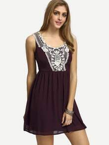 Dark Burgundy Sleeveless Lace Patchwork Dress