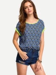Multicolor Short Sleeve Hollow Back Blouse