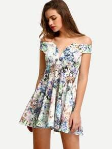 Multicolor Off The Shoulder Print Pleated Dress