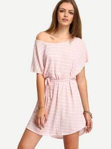 Pink Scoop Neck Striped Shift Dress