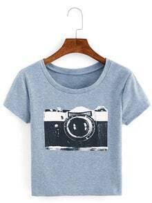 Camera Print Ribbed T-shirt