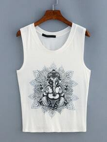 Elephant God Print Kontted Cutout Tank Top