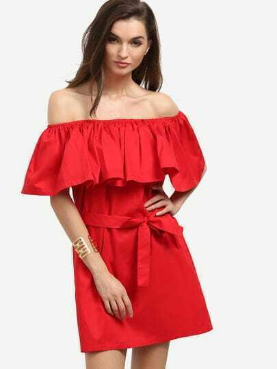 Ruffled Off-The-Shoulder Self-Tie Dress