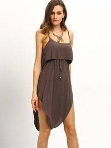 Curved Hem Layered Cami Dress