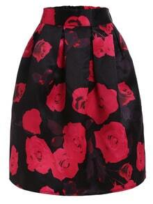Rose Print Box Pleated Midi Skirt - Black