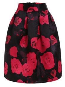 Rose Print Box Pleated Midi Skirt - Black