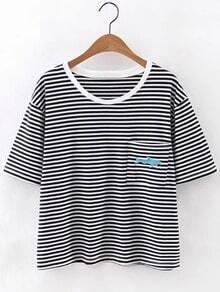 Blue Fish Embroidery Pocket Stripe T-shirt