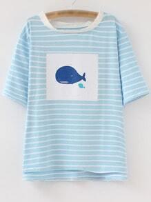 Blue Stripe Dip Hem Whale Print T-shirt