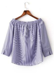 Blue Boat Neck Split Cuff Stripe Blouse