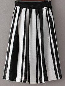 Black White Stripe Zipper Side Pleated Skirt