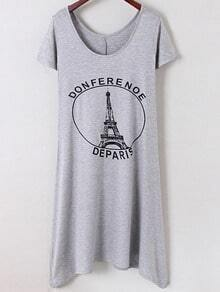 Grey Irregular Hem Letters Iron Tower Printed Dress