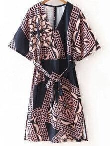 Multicolor Cross V Neck Split Side Print Dress With Belt