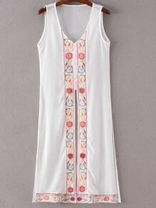White Buttons Front Split Side Embroidery Dress