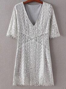 Light Grey V Neck Half Sleeve Lace Dress