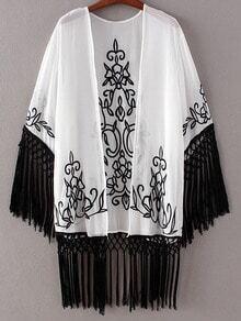 Black White Embroidery Tassel Cardigan Kimono