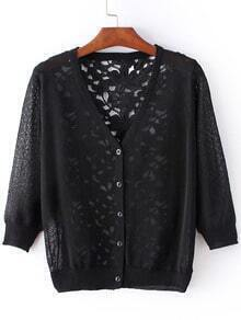 Black Hollow Lace Splicing Cardigan Knitwear