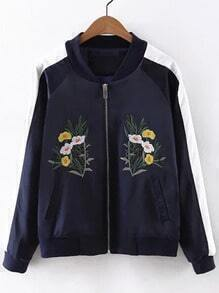 Multicolor Pockets Flowers Embroidery Jacket