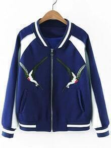 Blue Zipper Front Pockets Birds Embroidery Jacket