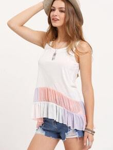 Multicolor Sleeveless Patchwork Ruffle T-shirt