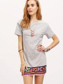Multicolor Short Sleeve Print T-shirt Dress