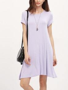 Light Purplr Short Sleeve Shift Dress
