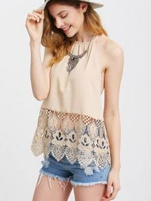 Apricot Halter Lace Patchwork Backless Tank Top