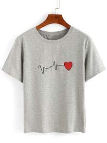 ECG Wave Embroidered T-shirt