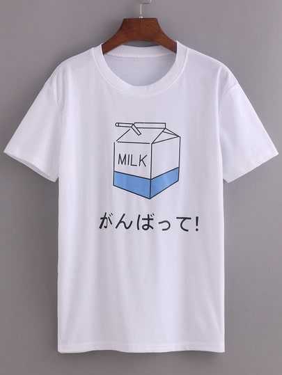 Comic Milk Box Print T-shirt