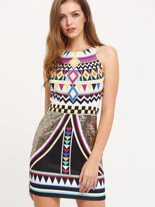 Multicolor Vintage Print Sleeveless Sheath Dress