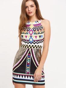Multicolor Vintage Print Sleeveless Sheath Dress