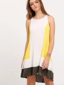 Multicolor Contrast Ruffle Hem Shift Dress
