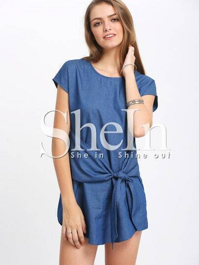 Blue Knotted Front Short Sleeve Shift Dress
