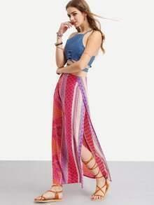 Multicolor Two Piece Split Side Skirt