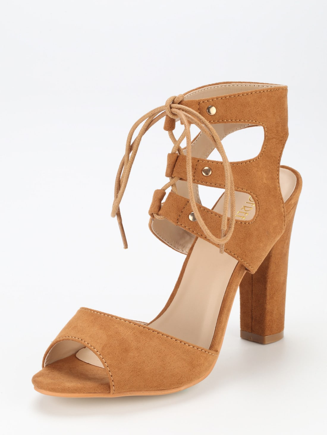 sandalen mit schn rung camel german shein sheinside. Black Bedroom Furniture Sets. Home Design Ideas