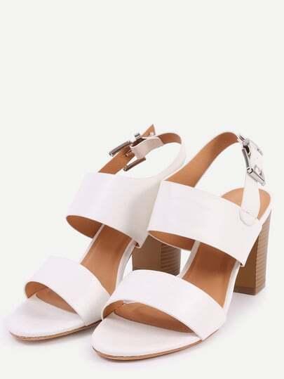 sandalen mit breitem riemen wei german shein sheinside. Black Bedroom Furniture Sets. Home Design Ideas