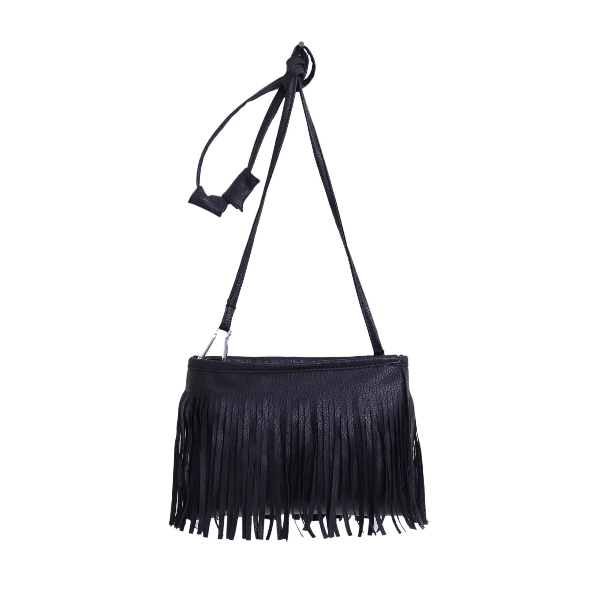 SHEIN / Crossbody Tasche aus Kunstleder mit Quaste besetzt -schwarz