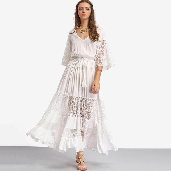 Bell Sleeve Contrast Lace Tie Waist Maxi Dress